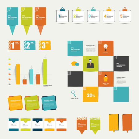 infochart: Collection of colorful flat infographic elements  Business vector shapes