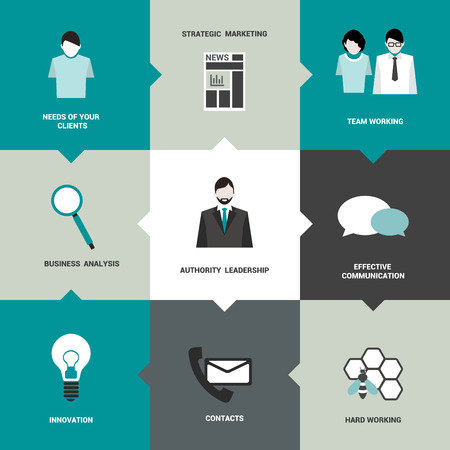 planning diagram: Infographics flat box diagram  Business needs concept  Simply minimalistic editable network scheme  Vector background