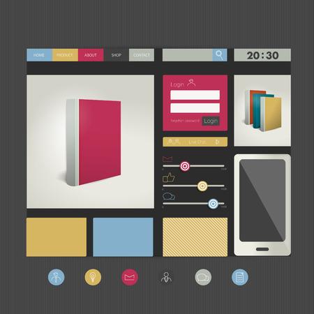 web site design template: Web site flat design template  Book concept  Vector background