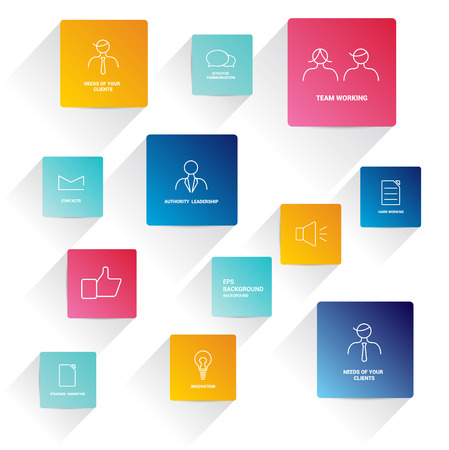 planning diagram: Infographics flat squre icons  Business needs concept  Simply minimalistic editable network scheme  Vector background   Illustration