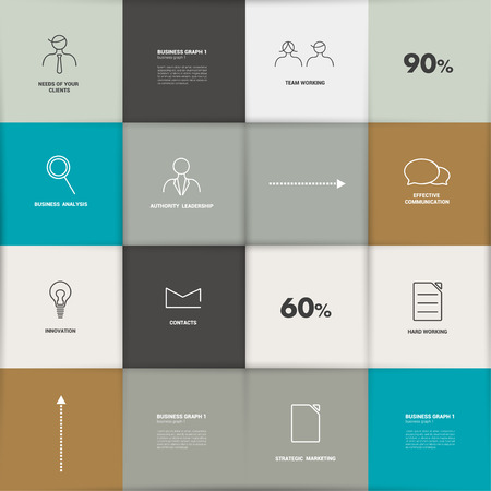 Flat template  Infographic square panel, chart   Vector