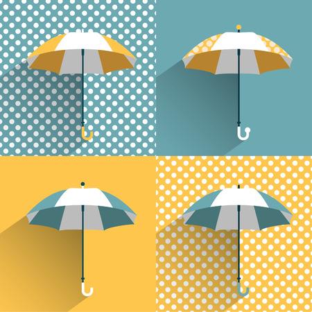 umbrella rain: Colored umbrellas  Flat vector sign