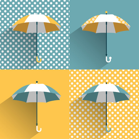 Colored umbrellas  Flat vector sign