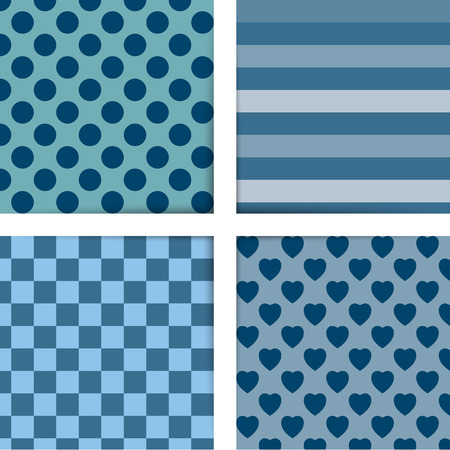 Set of four simply flat geometric patterns  Seamless blue background   Vector