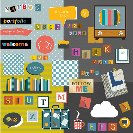 Set of colorful collage  Stickers, reminders, alphabet letters, icons  Vector background   Vector