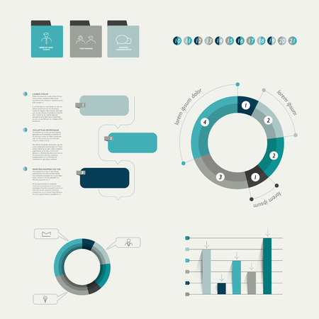 visualisation: Infographics elements  Folder with diagrams, speech bubbles and chart   Illustration