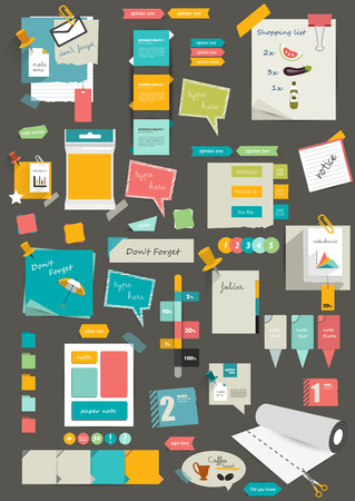 note books: Big set of reminder stickers  Infographic set  Illustration