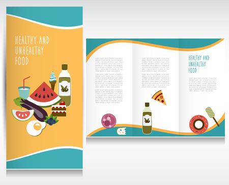 txt: Food brochure design  Healthy and unhealthy food Vector folder   Illustration