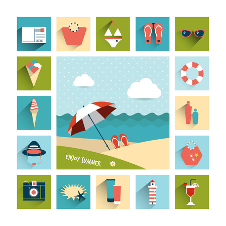 travel collage: Summer flat icon concept  Collage concept  Vector background