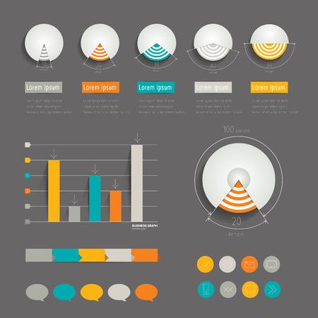 graficas de pastel: Minimalista carpeta infografía moderna con gráficos circulares, flechas, globos de texto e iconos vectoriales Flat Vectores