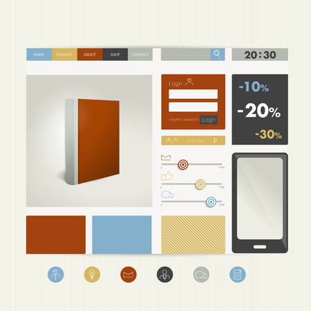 ebuy: Web site flat design template  Book concept  Vector background