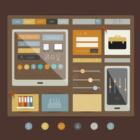 sidebar: Web site  Flat design elements  Vector   Illustration