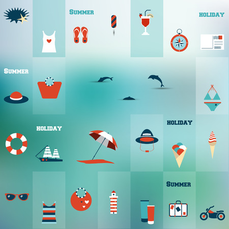 Summer flat icon concept  Collage concept  Vector background