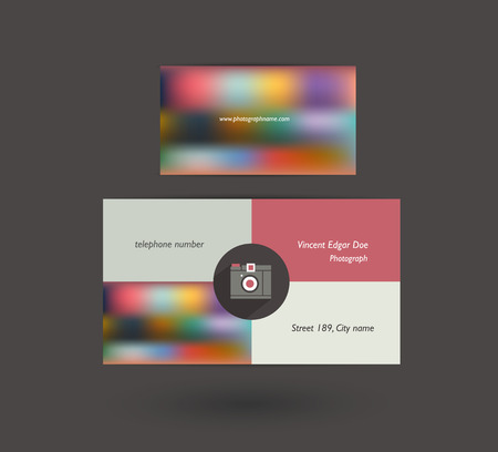 exclusive photo: Business card  Flat template  Vector blur background