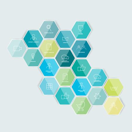 Set van gelijnde pictogram zeshoekige sjabloon Vector