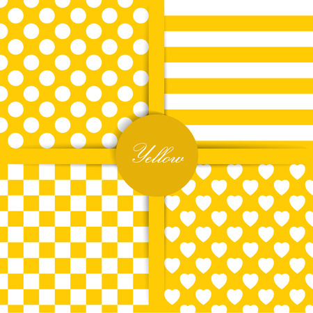 Set of four simply flat geometric patterns  Seamless yellow background   Vector