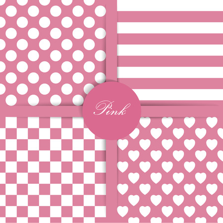 Set of four simply flat geometric patterns  Seamless pink background   Vector