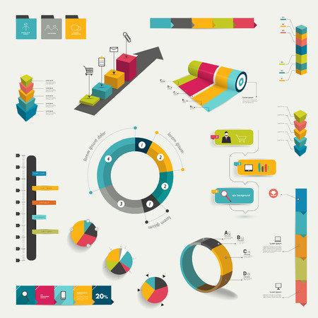 Collection of infographics elements  Colorful set template   Vector