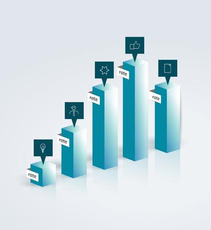 3 d glasses: 3D glass chart  Vector infographic figure   Illustration