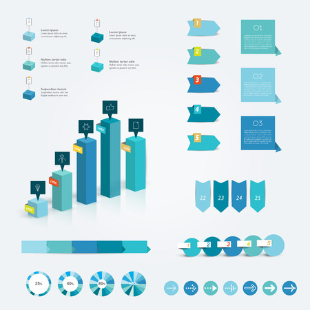 Set of blue infographic elements  Vector design   Vector