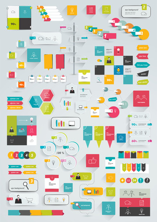 Collections of infographics flat design template  Various color schemes, boxes, speech bubbles, charts  Vector illustration
