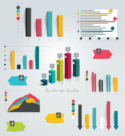 column chart: Big set of infographic charts  Vector