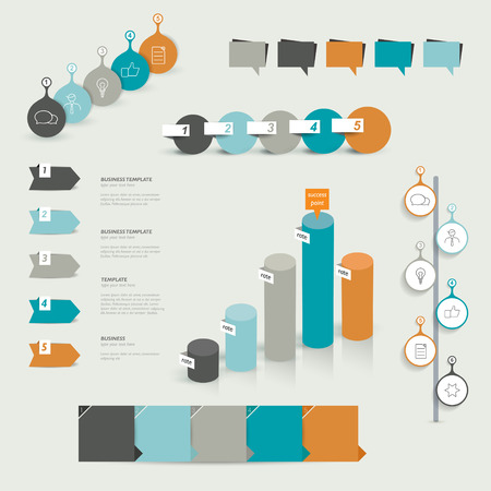 infochart: Collection of colorful infographic elements  Business vector shapes