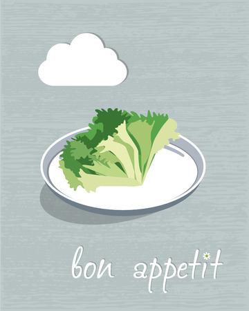 salat: Vegetarian restaurant concept. Restaurant menu flyer. Vector illustration.