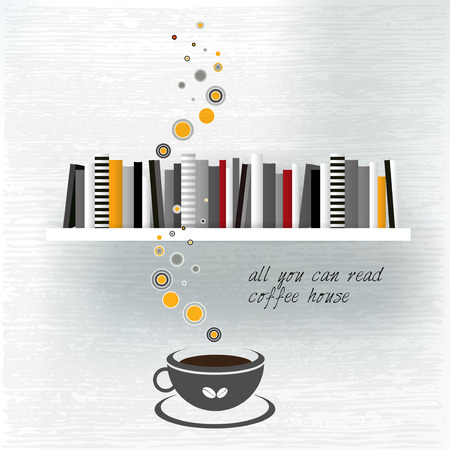 Coffee house template with book shelf. Vector flat background illustration. Vector