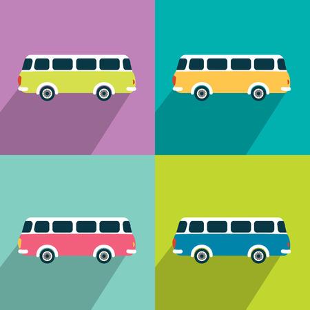 Retro bus concept paper vintage card. Flat design. Vector