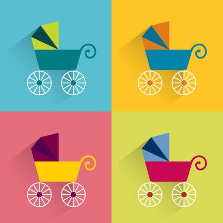 newborn baby mother: Retro buggie flat concept. Vector icon. Illustration