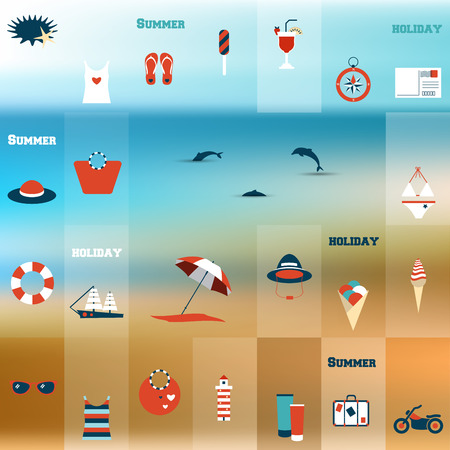 Summer flat icon concept. Collage concept. Vector background.  Vector