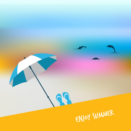 sunny beach: Summer sunny beach day. Vector illustration.