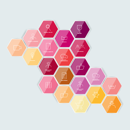 Set of lined icon. Hexagonal template. Vector. Illustration