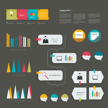 visualisation: Infographics elements. Folder with diagrams, speech bubbles and chart. Illustration