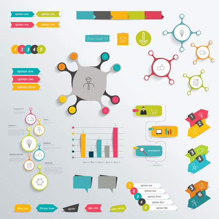 arow: Infographics flat elements. Folder with diagrams, speech bubbles and graphs. Illustration