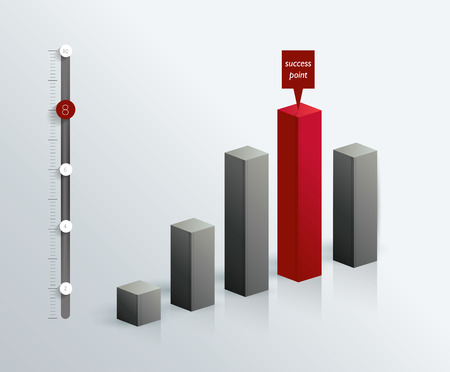 column chart: 3D graph for infographic. Illustration