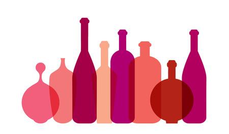red wine bottle: Ilustraci�n roja botella de vino. Vector. Vectores