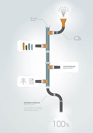 gas pipeline: Pipe timeline infographics chart. Vector illustration. Illustration