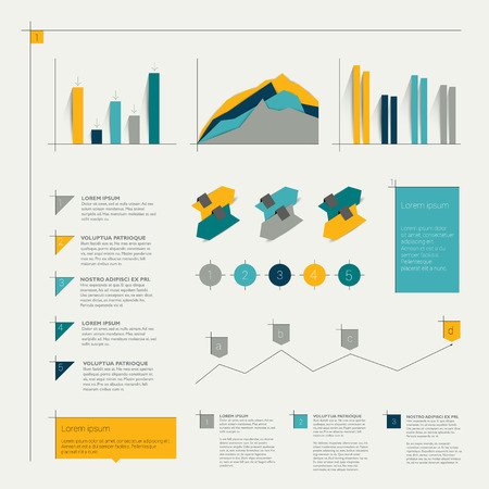 three points: Collection of infographics elements. Vector.
