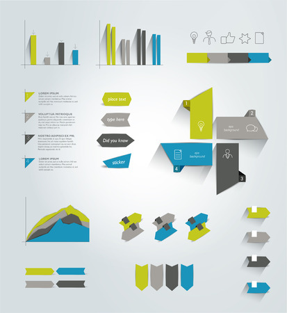 Collection of infographics elements. Colorful set template. Vector