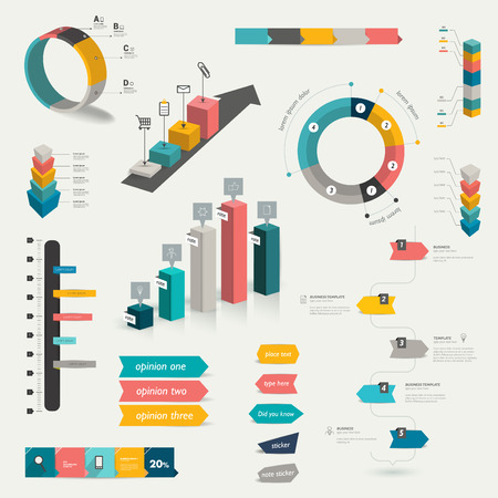three d: Collection of infographics elements. Colorful set template.