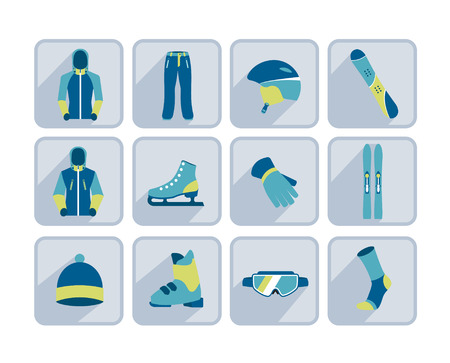 Winter sport, skiing and hiking flat icon collection. Vector