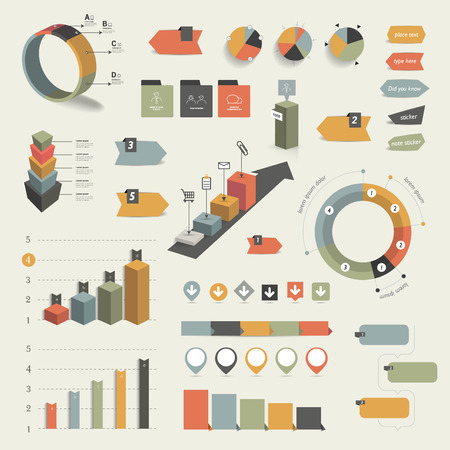 graphic business diagram collection: Collection of colorful flat infographic elements. Business vector shapes.