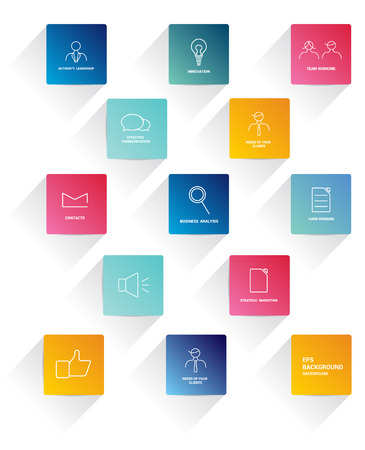 Flat stroke icons. Set of colorful business needs icons. Vector