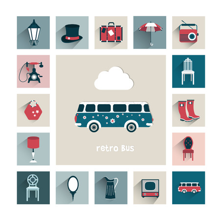old tv: Set of retro icons. Vector background concept.