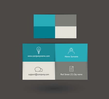 small business concept: Flat business card design. Simply minimalistic concept. Vector background.