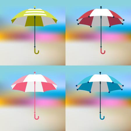 autumn woman: Umbrella sign. Flat vector sign. Various color and design parasol.