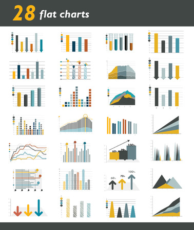 examples: Set of 28 flat charts, diagrams for infographic. Vector.