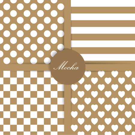Set of four simply flat geometric patterns. Seamless mocha background.  Vector
